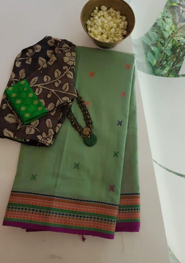 green phulia saree