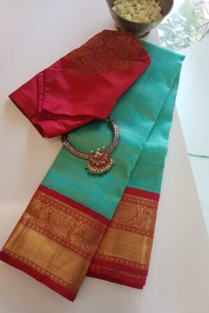 green with red korvai kanchipuram silk saree