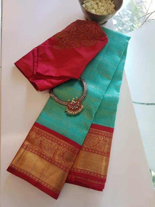 green with red korvai kanchipuram silk saree