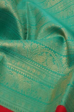 green with red korvai kanchipuram silk saree1