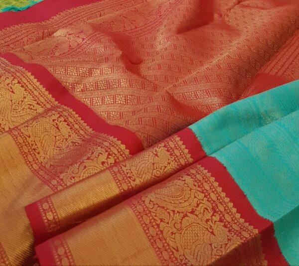 green with red korvai kanchipuram silk saree2