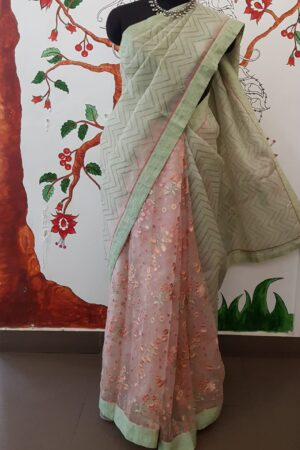 grey and peach embroidered saree1