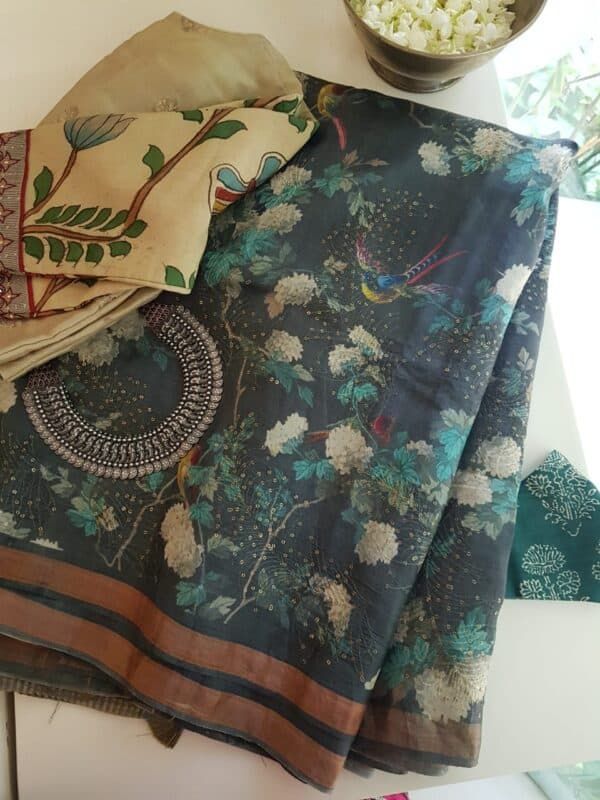 grey tussar saree with floral design and sequins woven