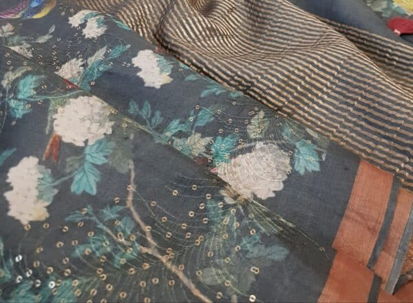 grey tussar saree with floral design and sequins woven2