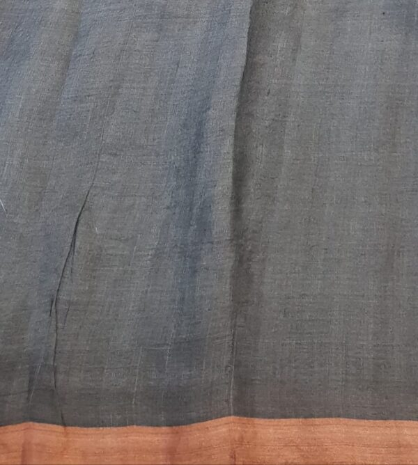 grey tussar saree with floral design and sequins woven3