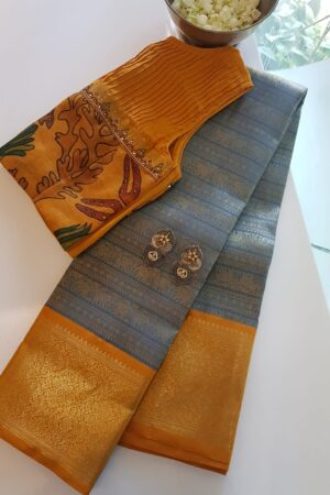 grey with mustard korvai kanchipuram silk saree