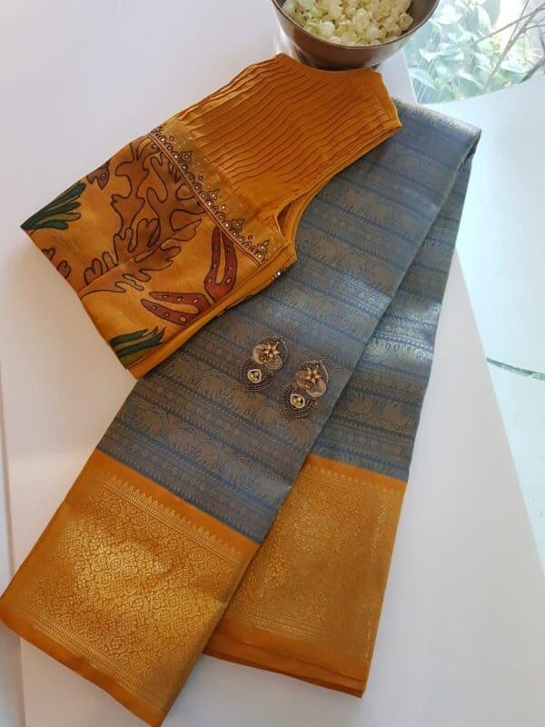 grey with mustard korvai kanchipuram silk saree