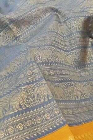 grey with mustard korvai kanchipuram silk saree1