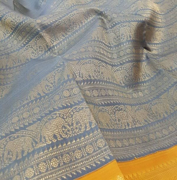 grey with mustard korvai kanchipuram silk saree1