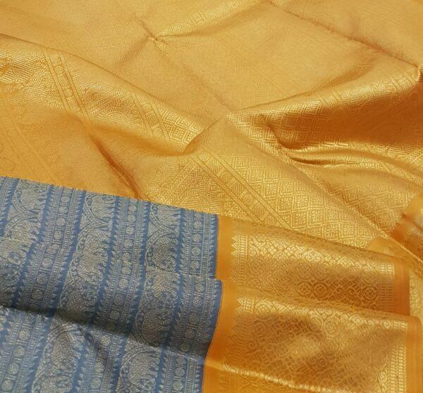 grey with mustard korvai kanchipuram silk saree2