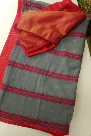 grey georgette saree with pink kutch work