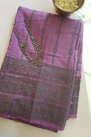 lavender tussar saree with kutch work