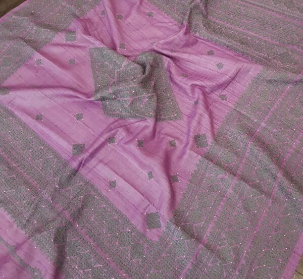 lavender tussar saree with kutch work1