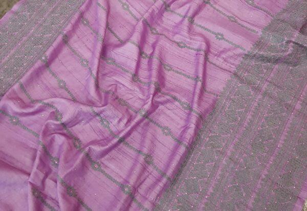 lavender tussar saree with kutch work2