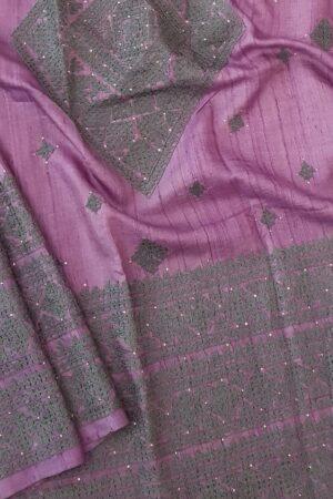 lavender tussar saree with kutch work3