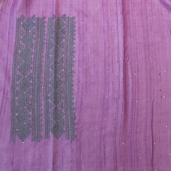 lavender tussar saree with kutch work4