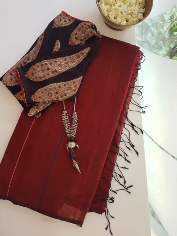 maroon cotton saree