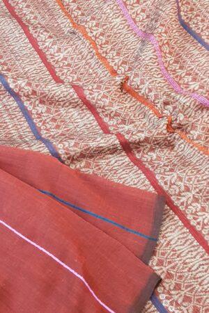 maroon cotton saree1