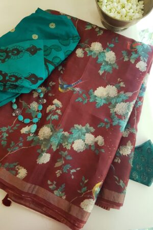 maroon tussar saree with floral pints and sequins woven