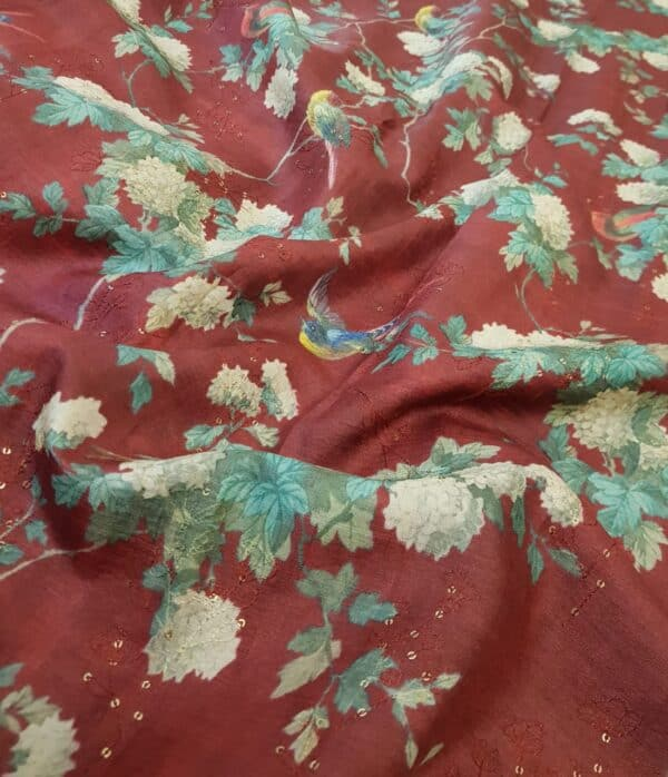 maroon tussar saree with floral pints and sequins woven1