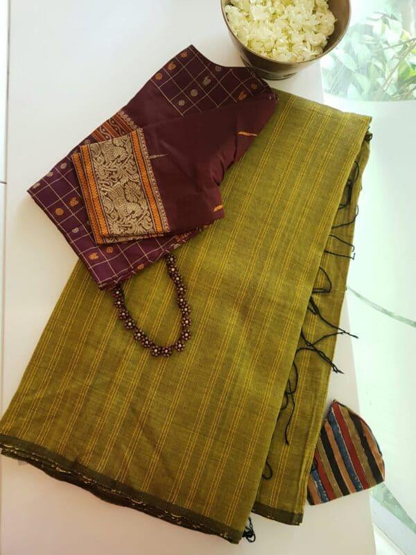 mehandi green saree