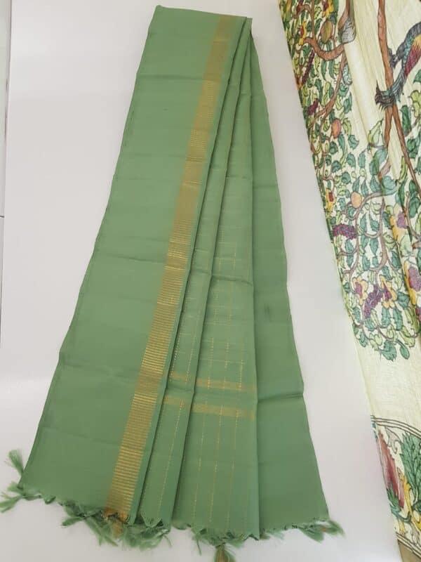 mint green kanchi dupatta with zari checks