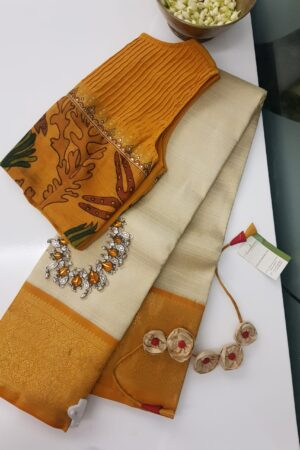 mustard and off white korvai kanchipuram silk saree