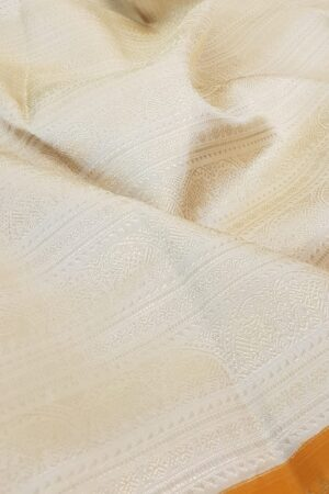 mustard and off white korvai kanchipuram silk saree1
