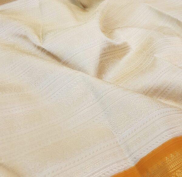 mustard and off white korvai kanchipuram silk saree1
