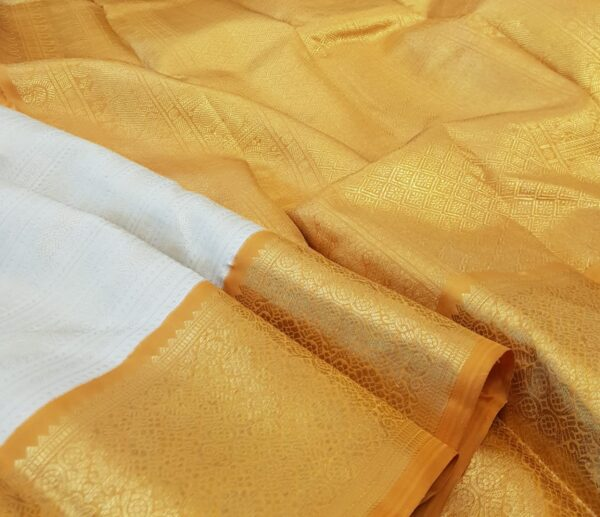 mustard and off white korvai kanchipuram silk saree2
