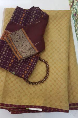 mustard organza saree with maroon border