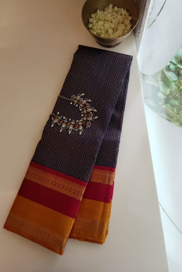 navy blue with 2 tone korvai border