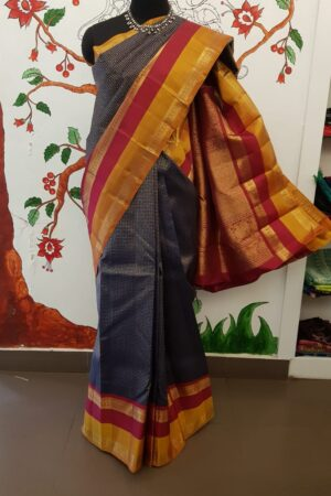 navy blue with 2 tone korvai border1