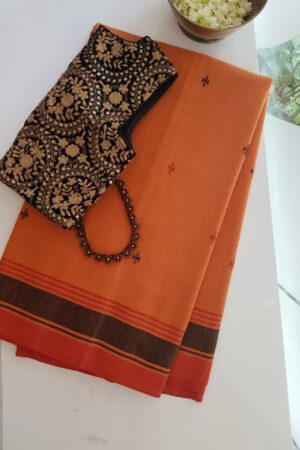 orange phulia cotton saree