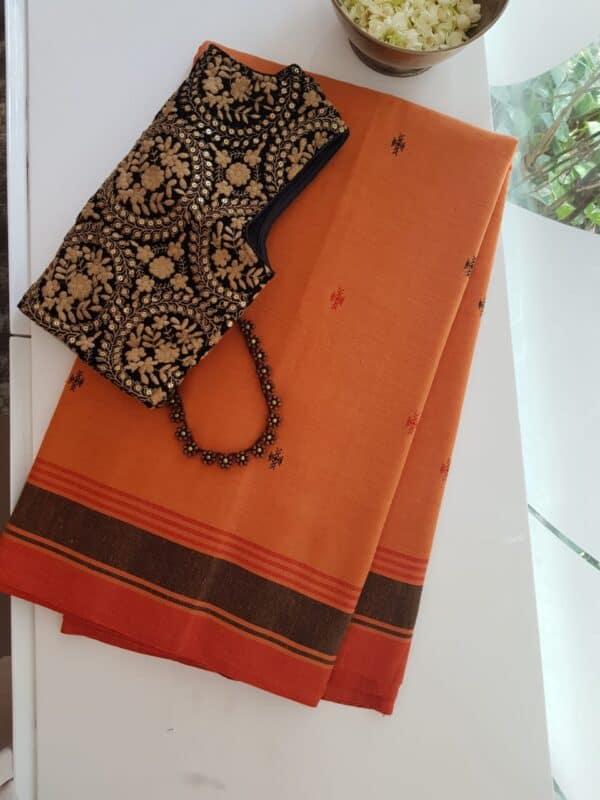 orange phulia cotton saree
