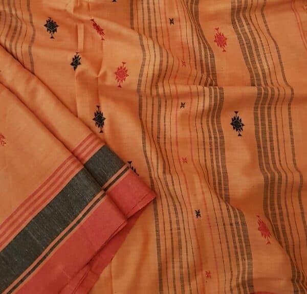 orange phulia cotton saree1