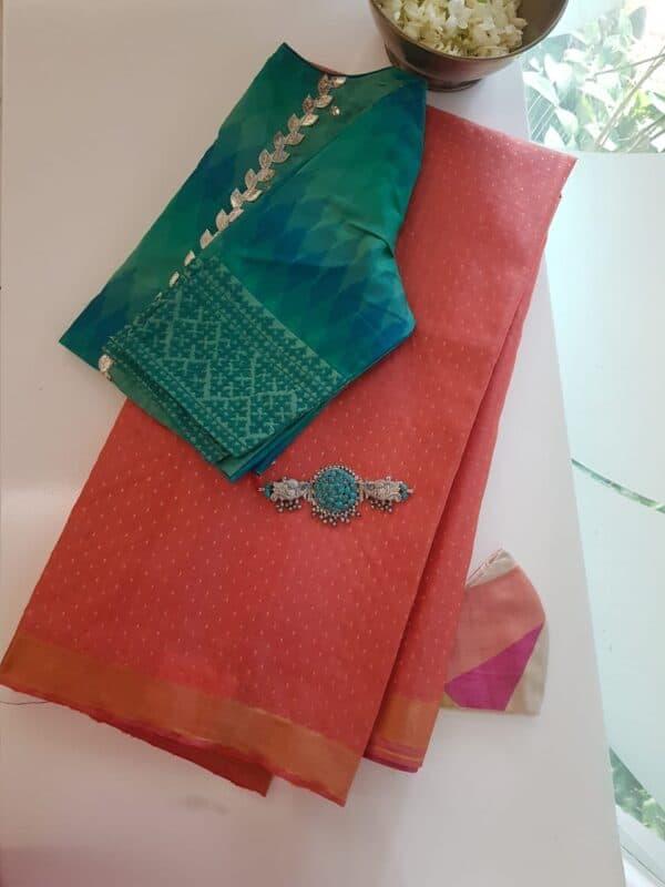 orange tussar saree with zari border