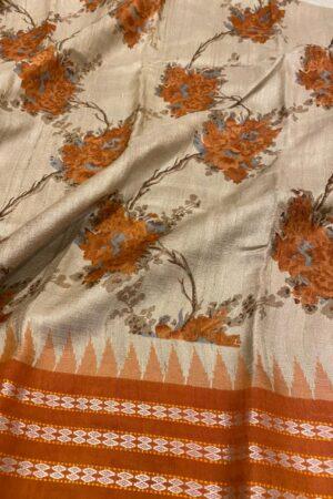 orange vidarbha tussar saree