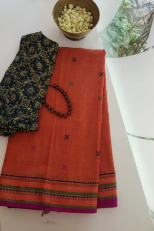 phulia cotton saree orange