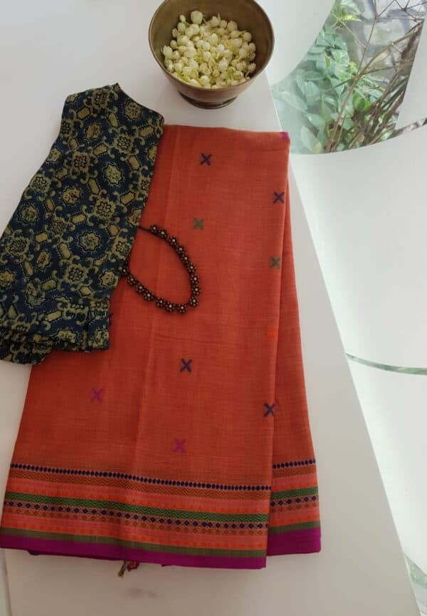 phulia cotton saree orange