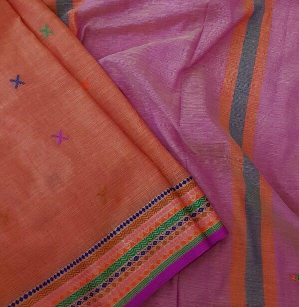 phulia cotton saree orange2