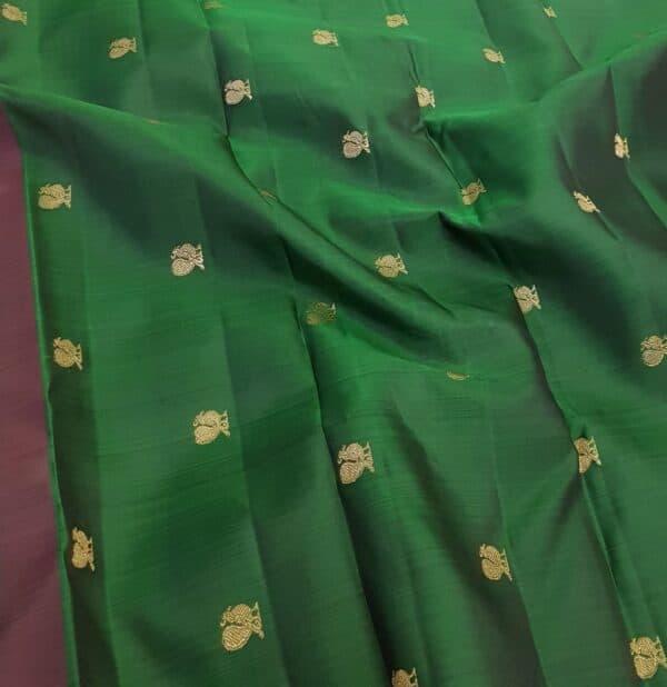 pink an dbottle green shoulder silk saree1