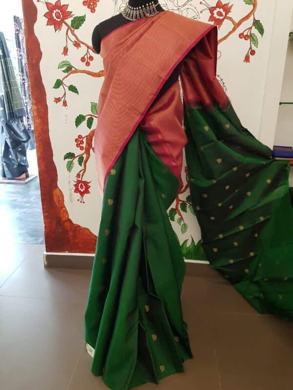 pink and bottle freen shoulder design silk saree1