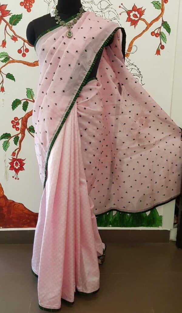 pink silk with paymadi kutch organza saree3