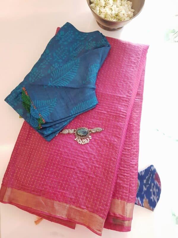 pink tussar saree with zari border