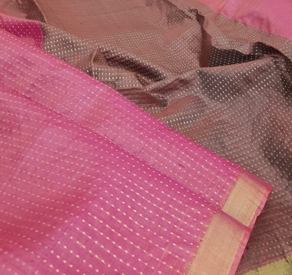 pink tussar saree with zari border1