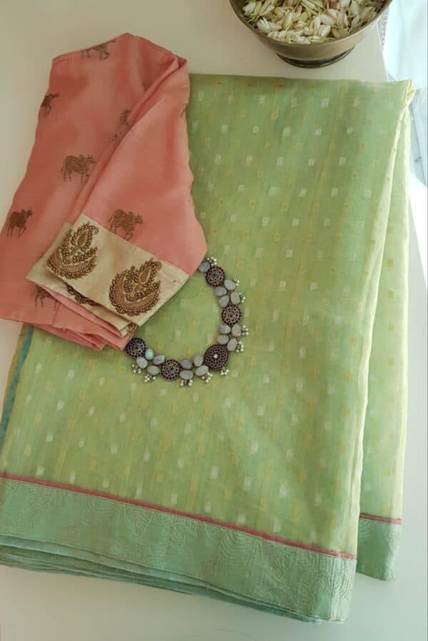 powder blue and mint green organza saree