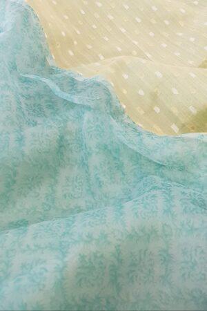 powder blue and mint green organza saree2