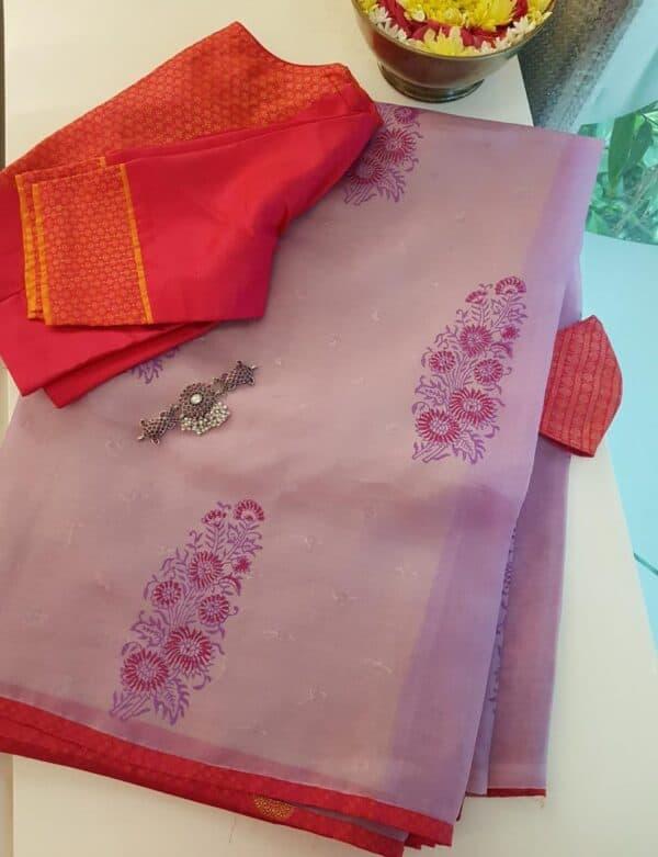 purple gulmohar saree
