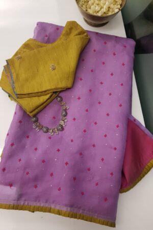 purple organza with paymadi silks saree